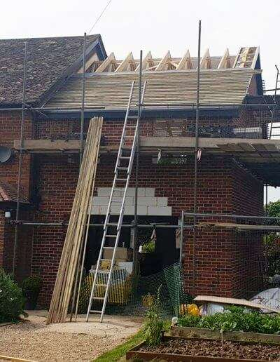 A progress photo of a double storey extension in Reepham, Norfolk. Roof trusses supplied by ETE Ltd